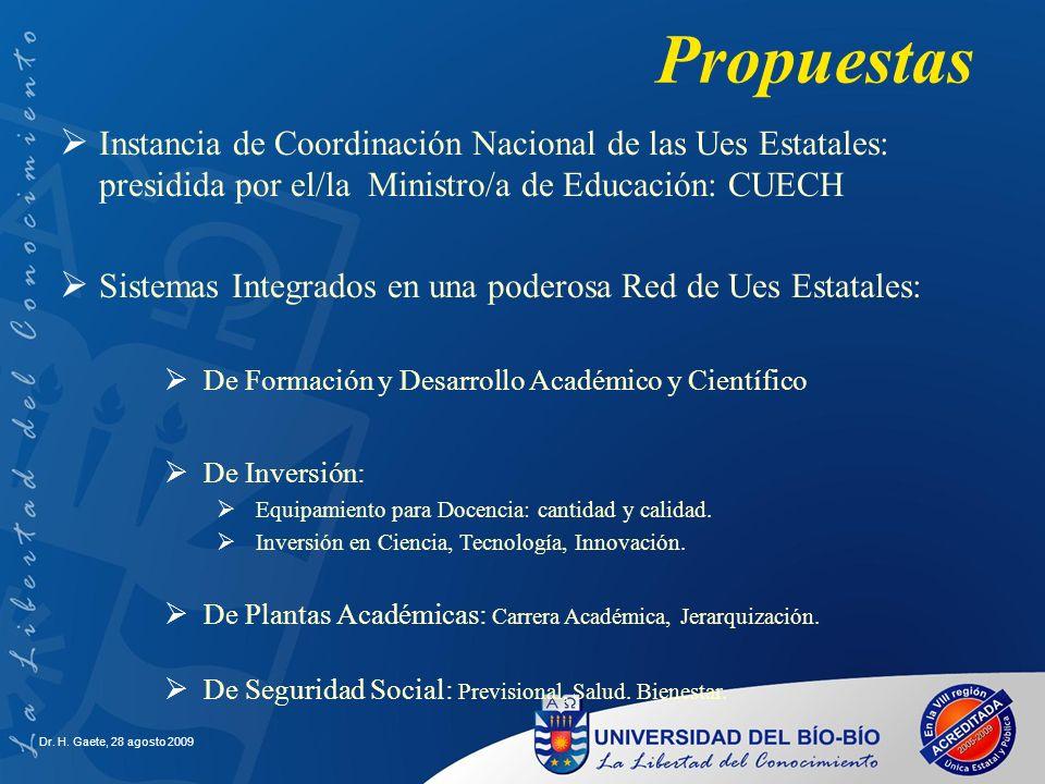 Propuestas Instancia de Coordinación Nacional de las Ues Estatales: presidida por el/la Ministro/a de Educación: CUECH.