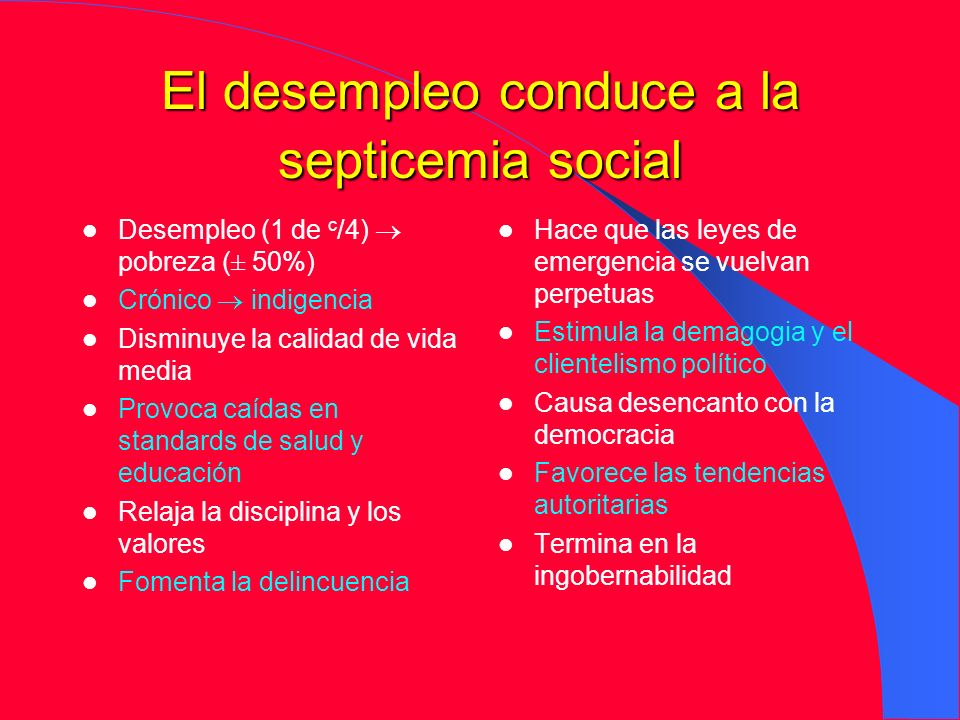 El desempleo conduce a la septicemia social