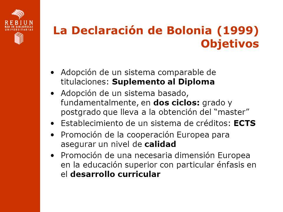 La Declaración de Bolonia (1999) Objetivos