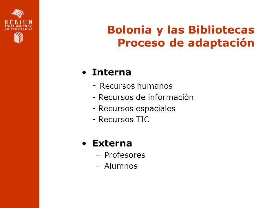 Bolonia y las Bibliotecas Proceso de adaptación