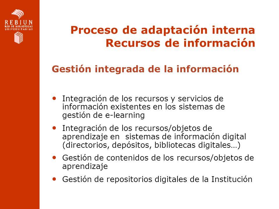 Proceso de adaptación interna Recursos de información