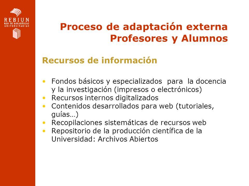 Proceso de adaptación externa Profesores y Alumnos
