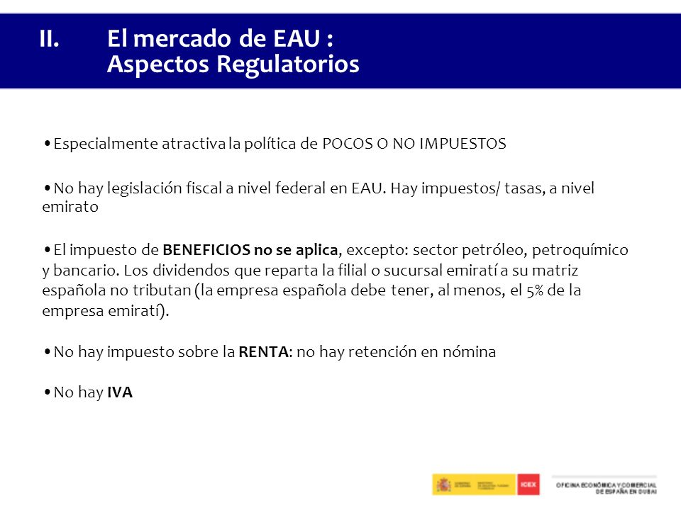 II. El mercado de EAU : Aspectos Regulatorios