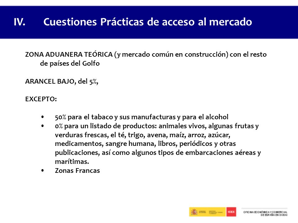 IV. Cuestiones Prácticas de acceso al mercado