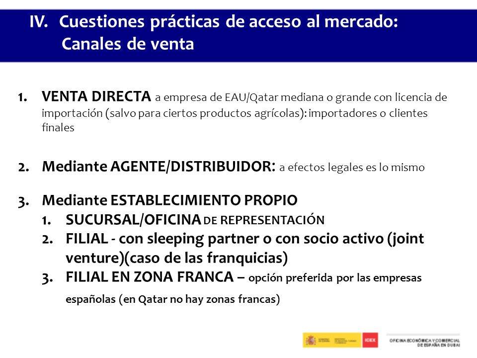 IV. Cuestiones prácticas de acceso al mercado: Canales de venta