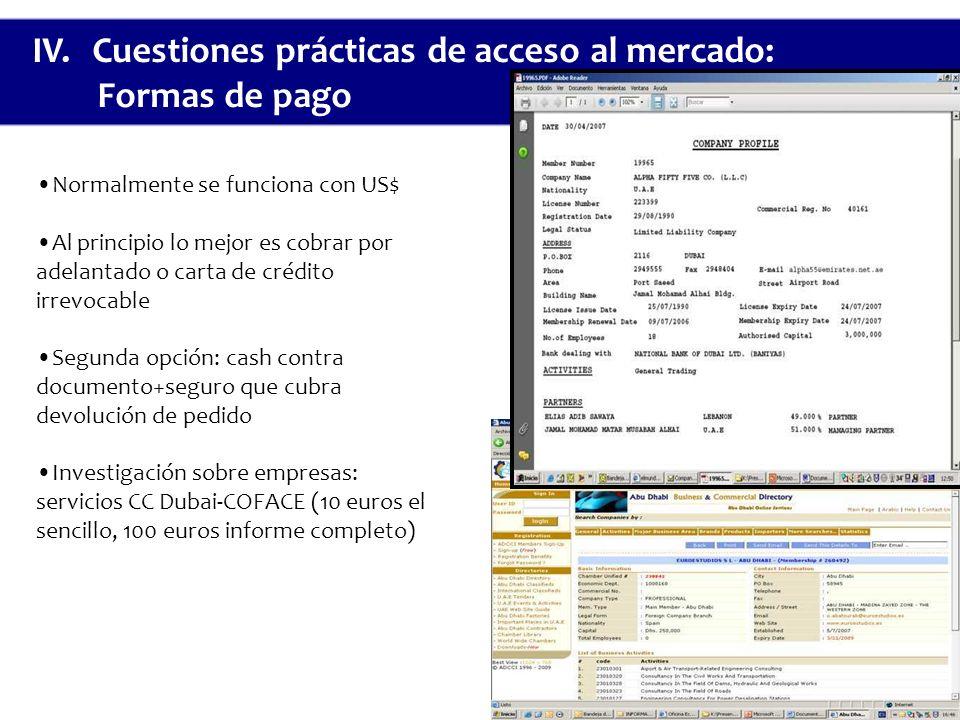 IV. Cuestiones prácticas de acceso al mercado: Formas de pago