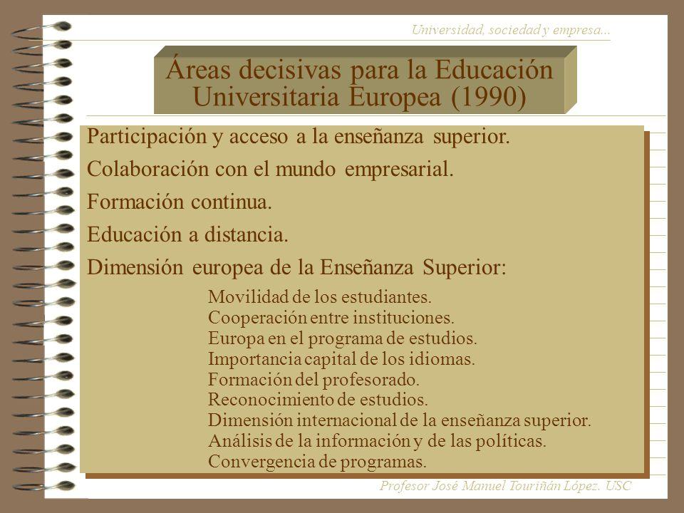 Áreas decisivas para la Educación Universitaria Europea (1990)