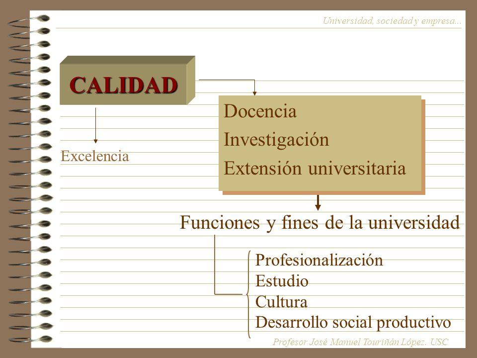 CALIDAD Docencia Investigación Extensión universitaria