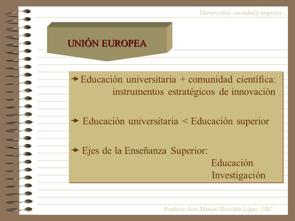 Educación universitaria + comunidad científica: