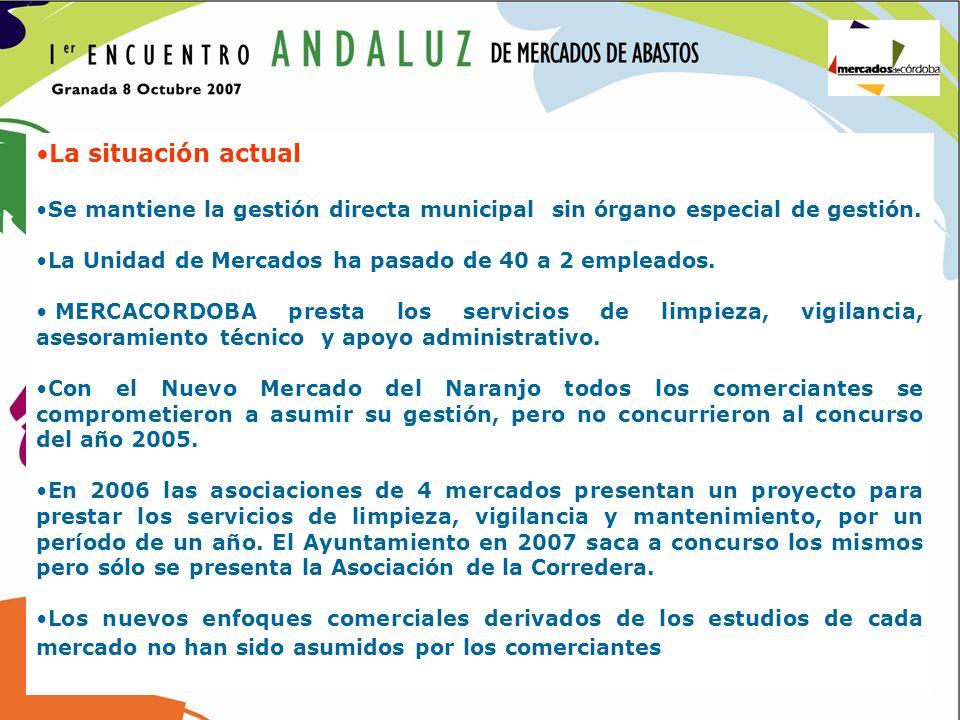 La situación actual Se mantiene la gestión directa municipal sin órgano especial de gestión. La Unidad de Mercados ha pasado de 40 a 2 empleados.