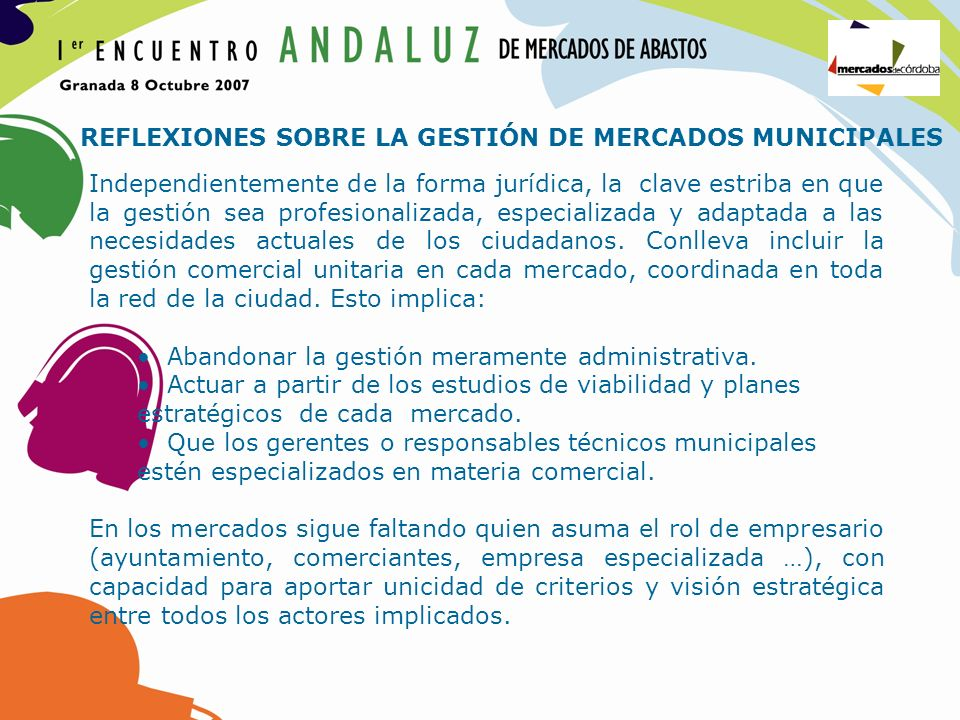 REFLEXIONES SOBRE LA GESTIÓN DE MERCADOS MUNICIPALES