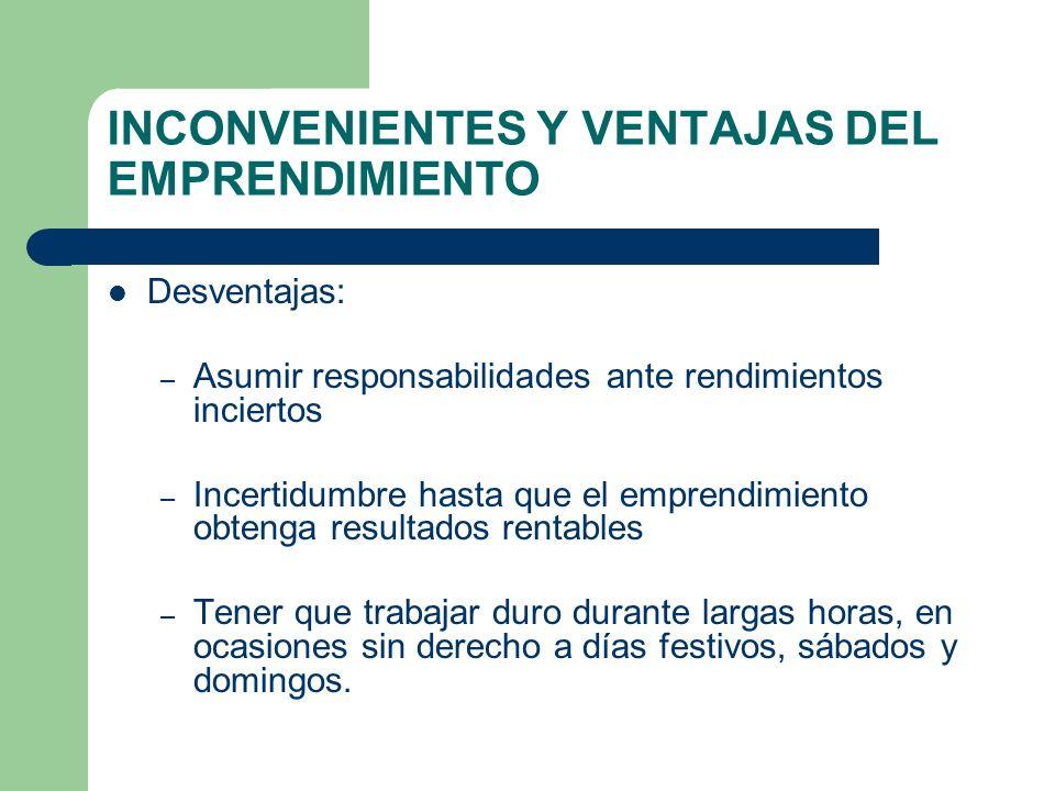 INCONVENIENTES Y VENTAJAS DEL EMPRENDIMIENTO