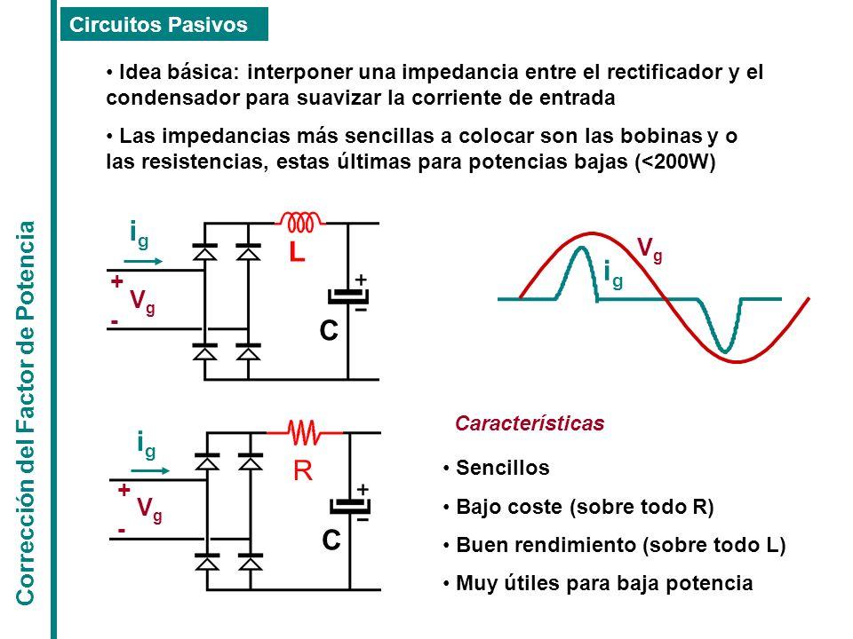 ig L ig C ig R C Vg Corrección del Factor de Potencia + Vg - + Vg -