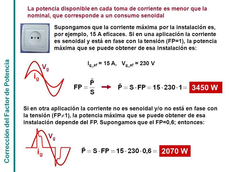 ig 3450 W ig 2070 W Vg Corrección del Factor de Potencia Vg