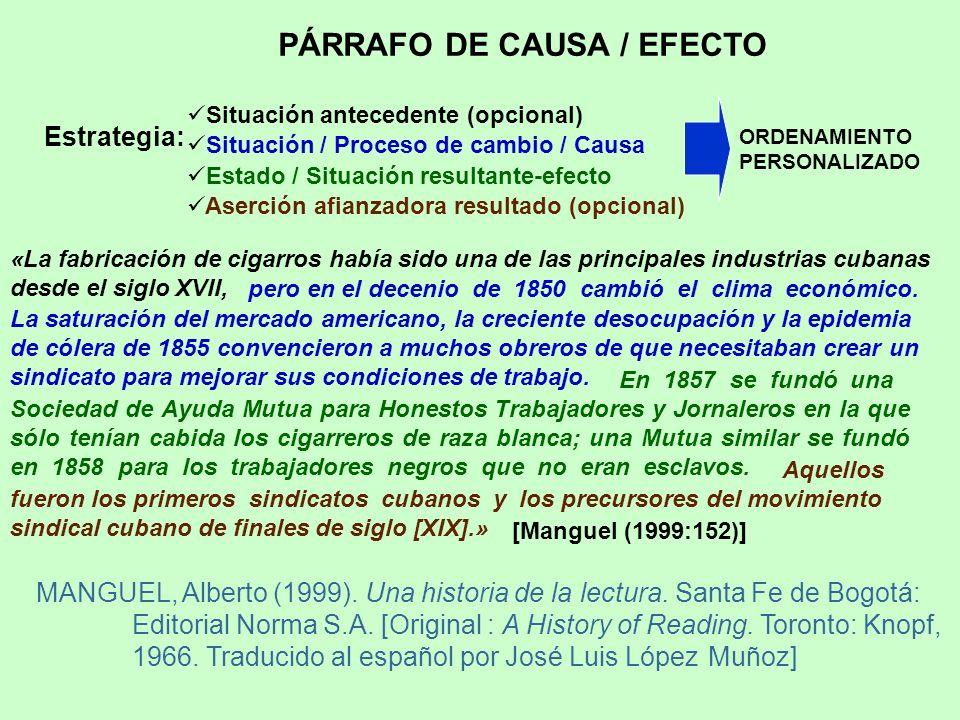 PÁRRAFO DE CAUSA / EFECTO