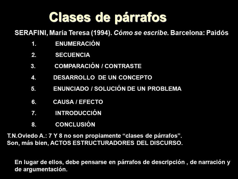 Clases de párrafosSERAFINI, María Teresa (1994). Cómo se escribe. Barcelona: Paidós. 1. ENUMERACIÓN.