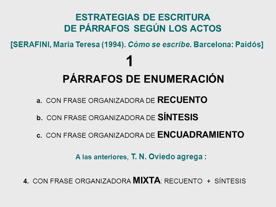 ESTRATEGIAS DE ESCRITURA DE PÁRRAFOS SEGÚN LOS ACTOS
