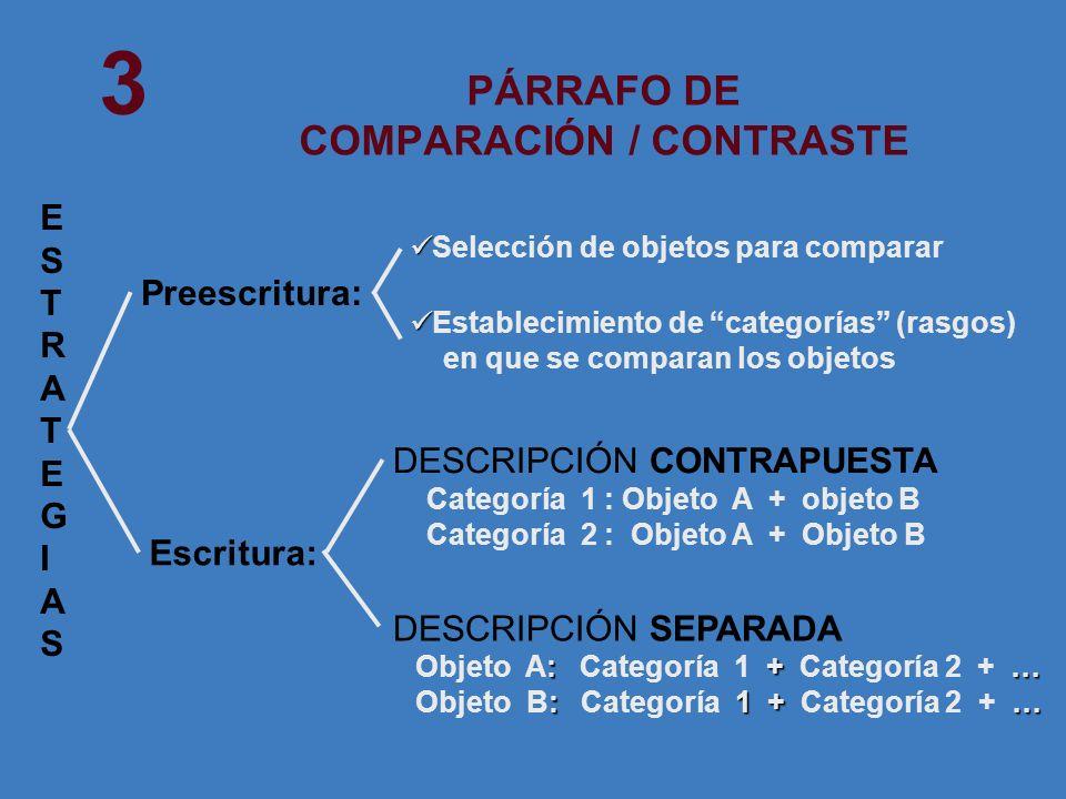 PÁRRAFO DE COMPARACIÓN / CONTRASTE