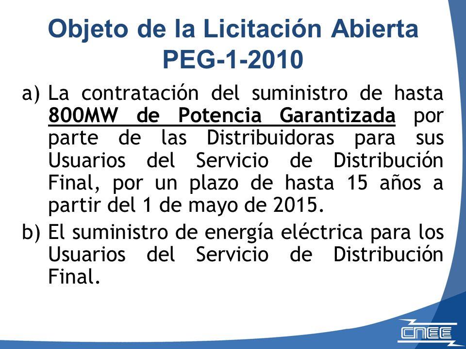 Objeto de la Licitación Abierta PEG-1-2010