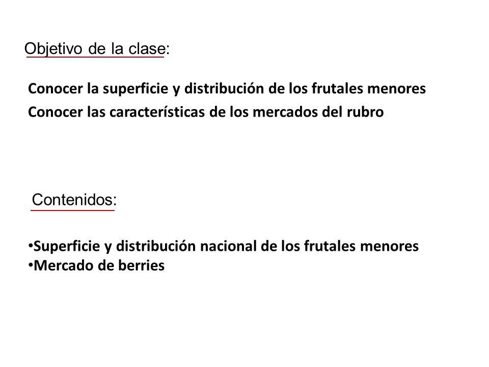 Objetivo de la clase: Conocer la superficie y distribución de los frutales menores. Conocer las características de los mercados del rubro.