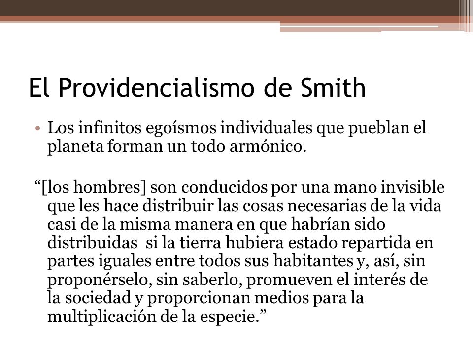 El Providencialismo de Smith