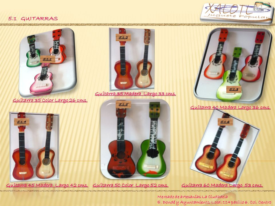 5.1 GUITARRAS Guitarra 50 Color Largo 52 cms.