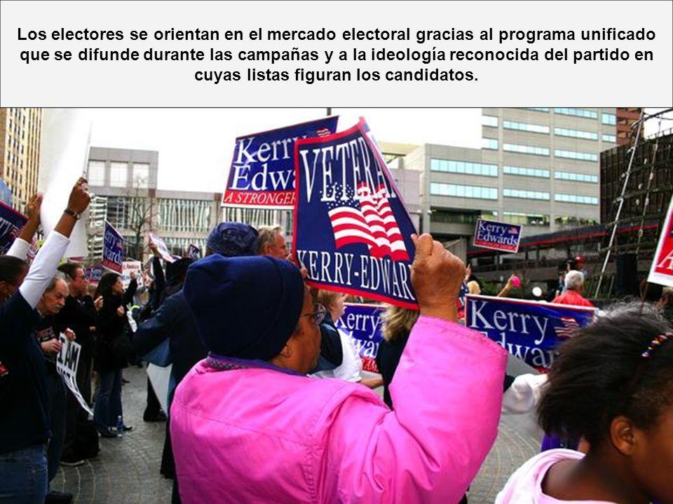 Los electores se orientan en el mercado electoral gracias al programa unificado que se difunde durante las campañas y a la ideología reconocida del partido en cuyas listas figuran los candidatos.