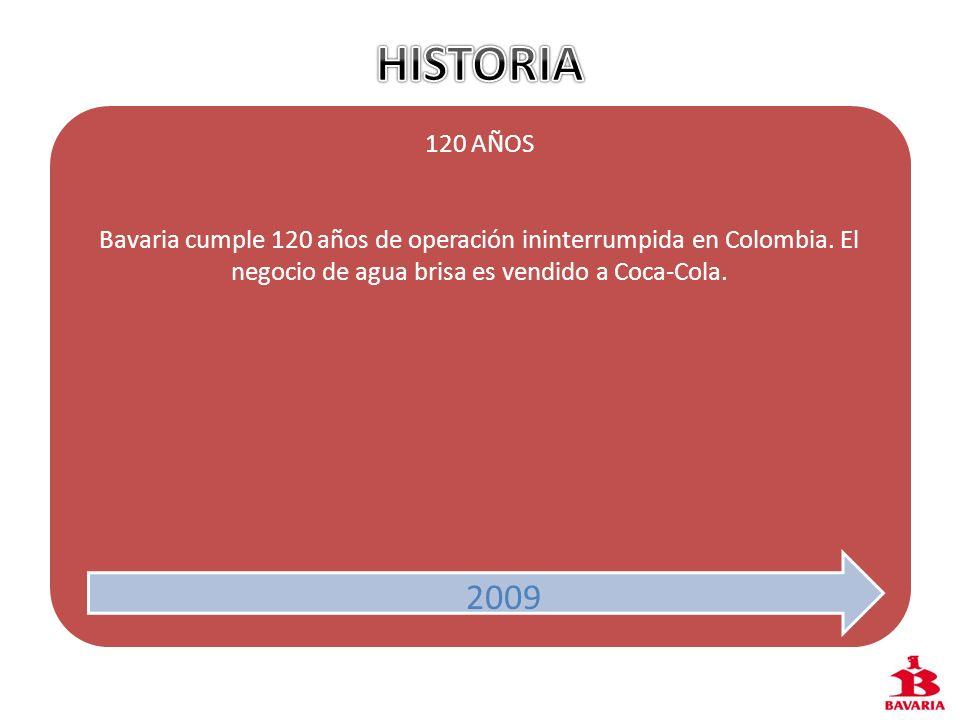 HISTORIA 120 AÑOS. Bavaria cumple 120 años de operación ininterrumpida en Colombia. El negocio de agua brisa es vendido a Coca-Cola.