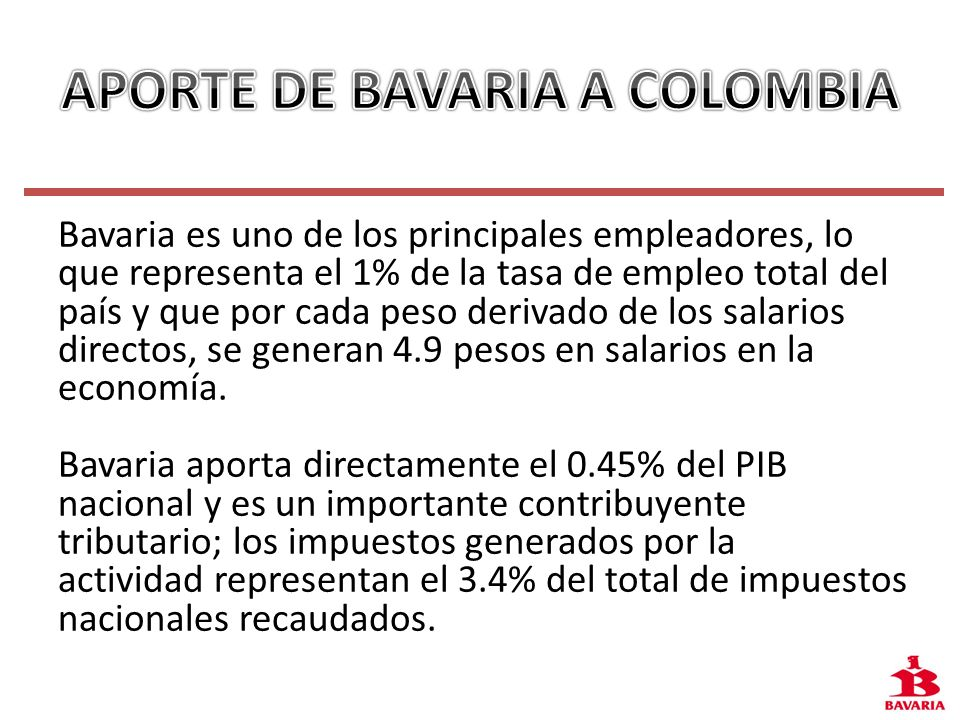 APORTE DE BAVARIA A COLOMBIA
