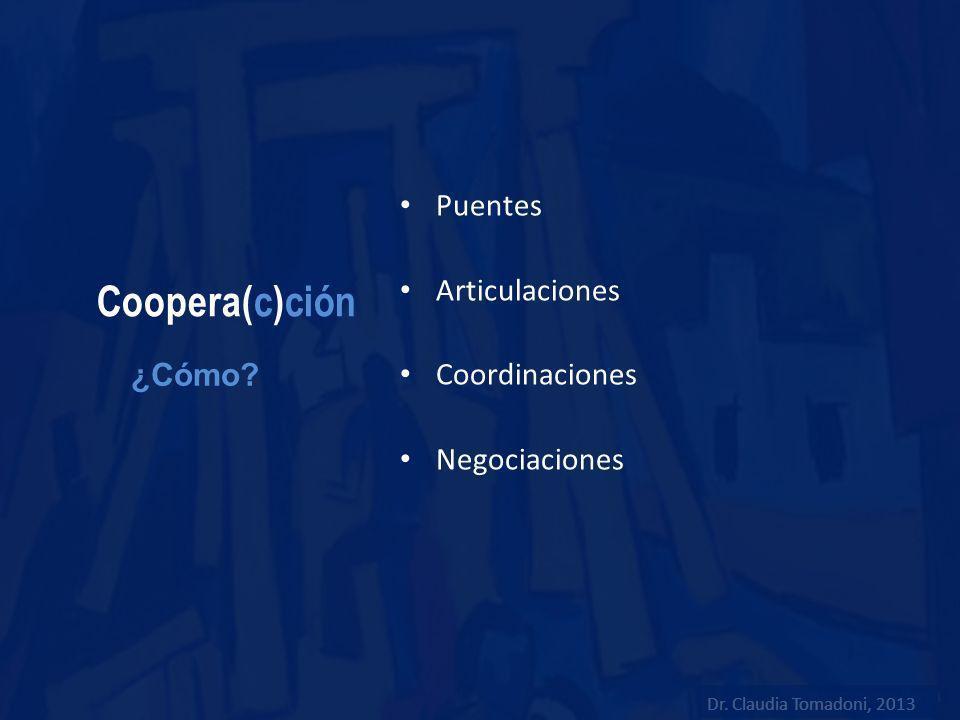 Coopera(c)ción Puentes Articulaciones Coordinaciones Negociaciones