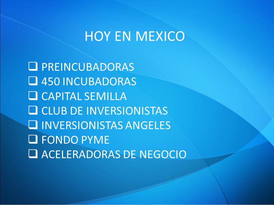 HOY EN MEXICO PREINCUBADORAS 450 INCUBADORAS CAPITAL SEMILLA