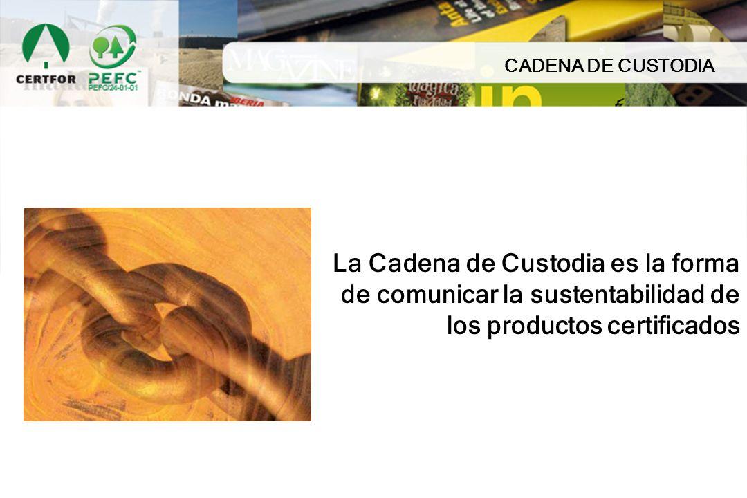 CADENA DE CUSTODIA La Cadena de Custodia es la forma de comunicar la sustentabilidad de los productos certificados.