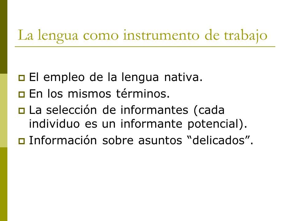 La lengua como instrumento de trabajo