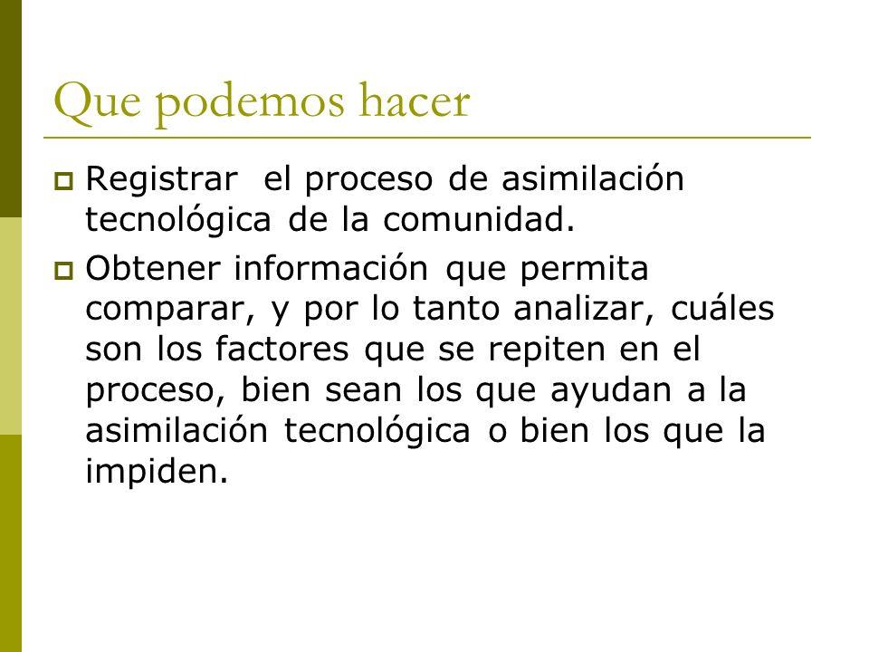 Que podemos hacer Registrar el proceso de asimilación tecnológica de la comunidad.