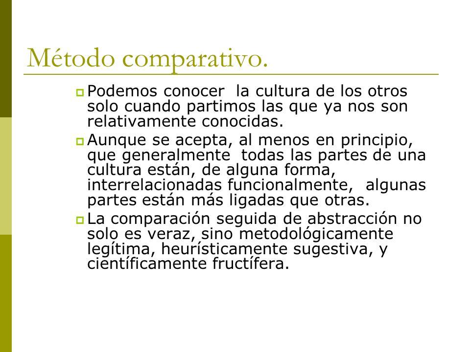 Método comparativo. Podemos conocer la cultura de los otros solo cuando partimos las que ya nos son relativamente conocidas.