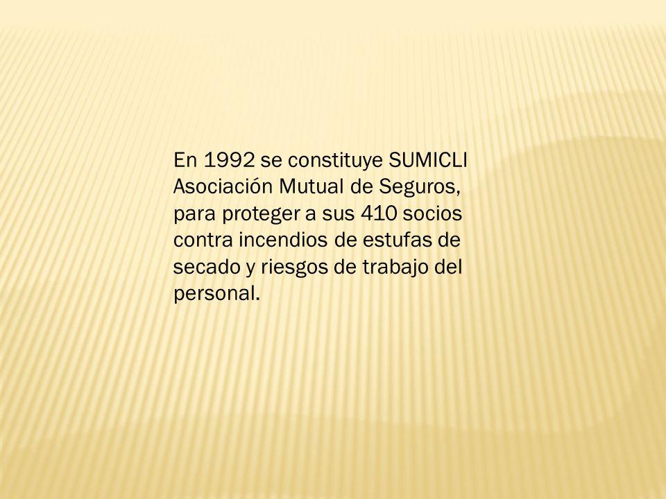 En 1992 se constituye SUMICLI Asociación Mutual de Seguros, para proteger a sus 410 socios contra incendios de estufas de secado y riesgos de trabajo del personal.