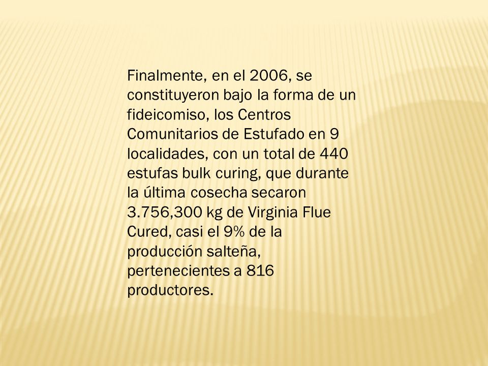 Finalmente, en el 2006, se constituyeron bajo la forma de un fideicomiso, los Centros Comunitarios de Estufado en 9 localidades, con un total de 440 estufas bulk curing, que durante la última cosecha secaron 3.756,300 kg de Virginia Flue Cured, casi el 9% de la producción salteña, pertenecientes a 816 productores.