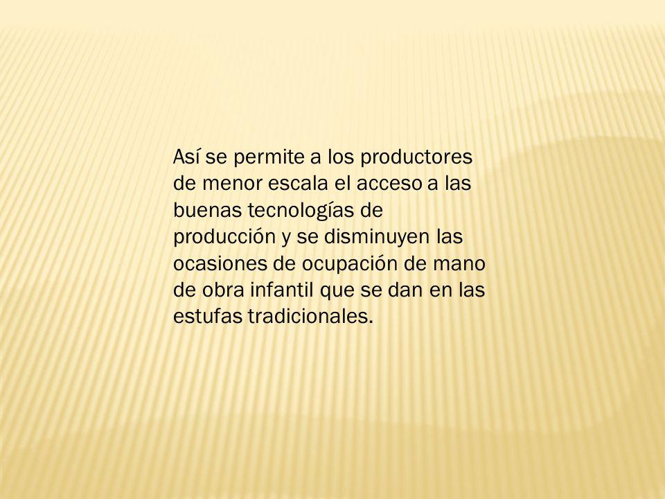 Así se permite a los productores de menor escala el acceso a las buenas tecnologías de producción y se disminuyen las ocasiones de ocupación de mano de obra infantil que se dan en las estufas tradicionales.