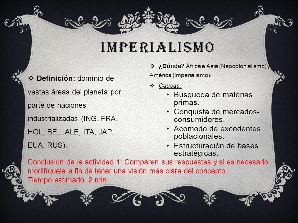 Imperialismo Búsqueda de materias primas.