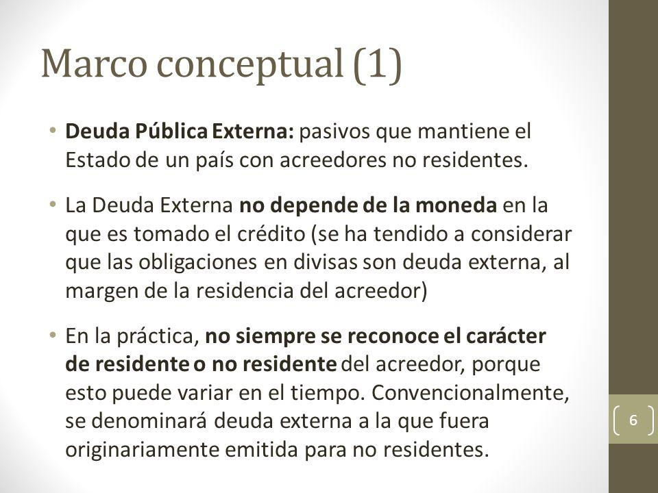 Marco conceptual (1) Deuda Pública Externa: pasivos que mantiene el Estado de un país con acreedores no residentes.