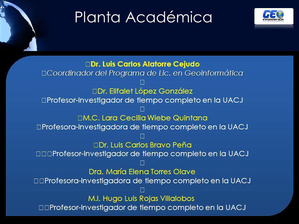 Planta Académica Dr. Luis Carlos Alatorre Cejudo Coordinador del Programa de Lic. en Geoinformática.