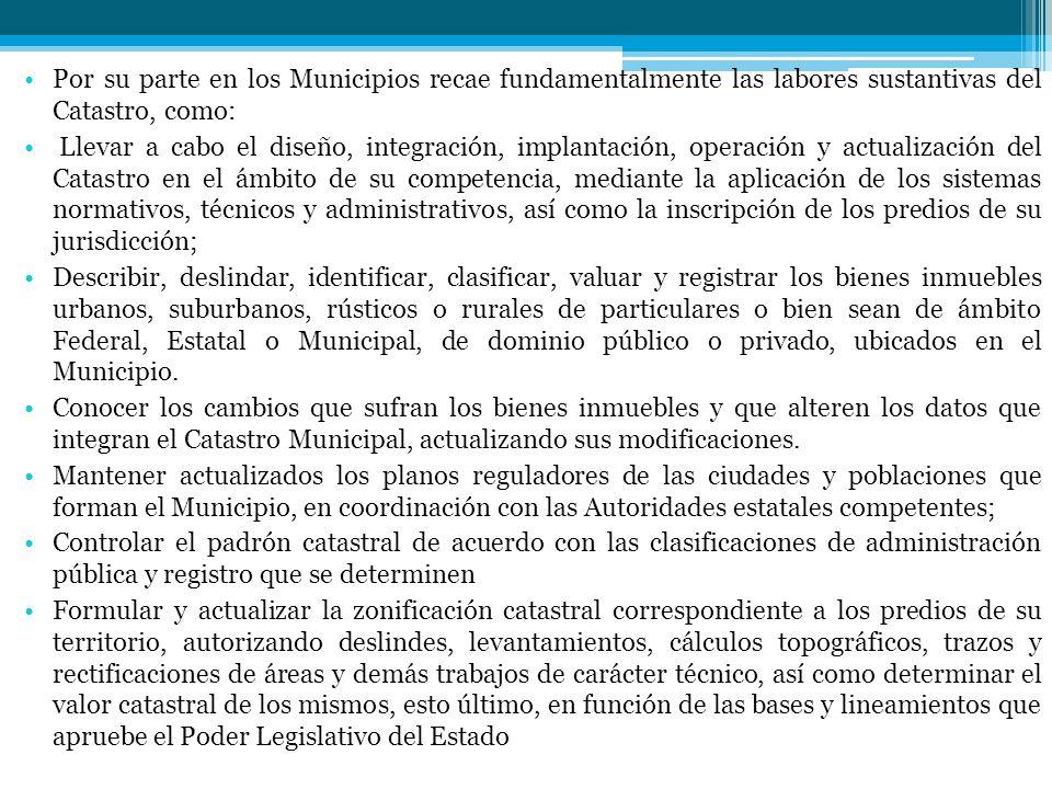 Por su parte en los Municipios recae fundamentalmente las labores sustantivas del Catastro, como: