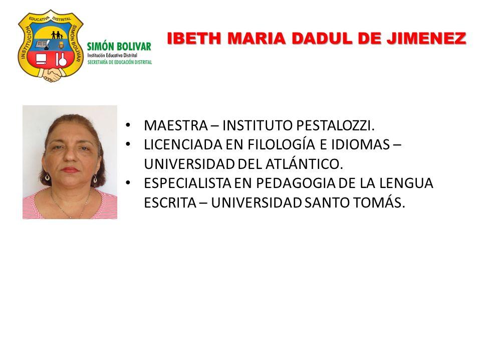 IBETH MARIA DADUL DE JIMENEZ