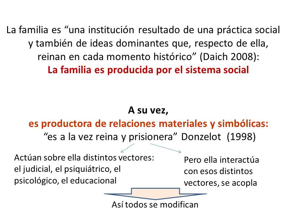 La familia es una institución resultado de una práctica social y también de ideas dominantes que, respecto de ella, reinan en cada momento histórico (Daich 2008): La familia es producida por el sistema social A su vez, es productora de relaciones materiales y simbólicas: es a la vez reina y prisionera Donzelot (1998)