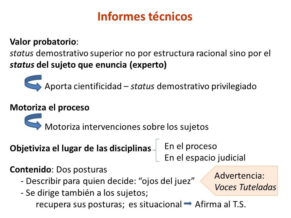 Informes técnicos Valor probatorio: