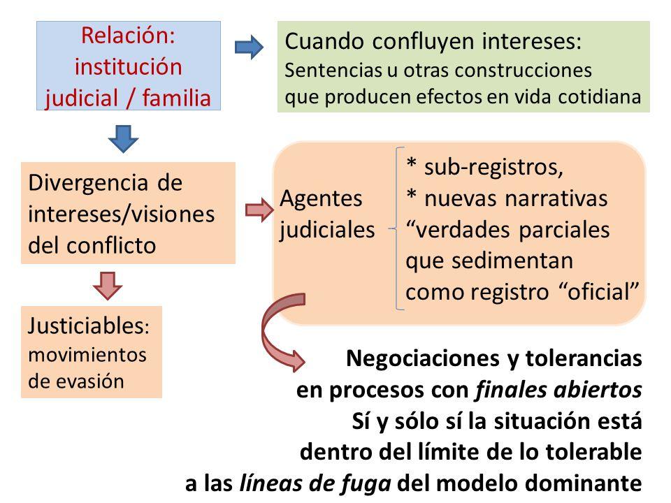 Relación: institución judicial / familia