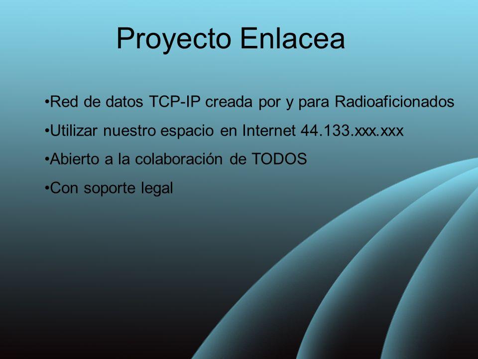 Proyecto Enlacea Red de datos TCP-IP creada por y para Radioaficionados. Utilizar nuestro espacio en Internet 44.133.xxx.xxx.