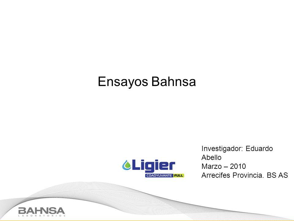 Ensayos Bahnsa Investigador: Eduardo Abello Marzo – 2010
