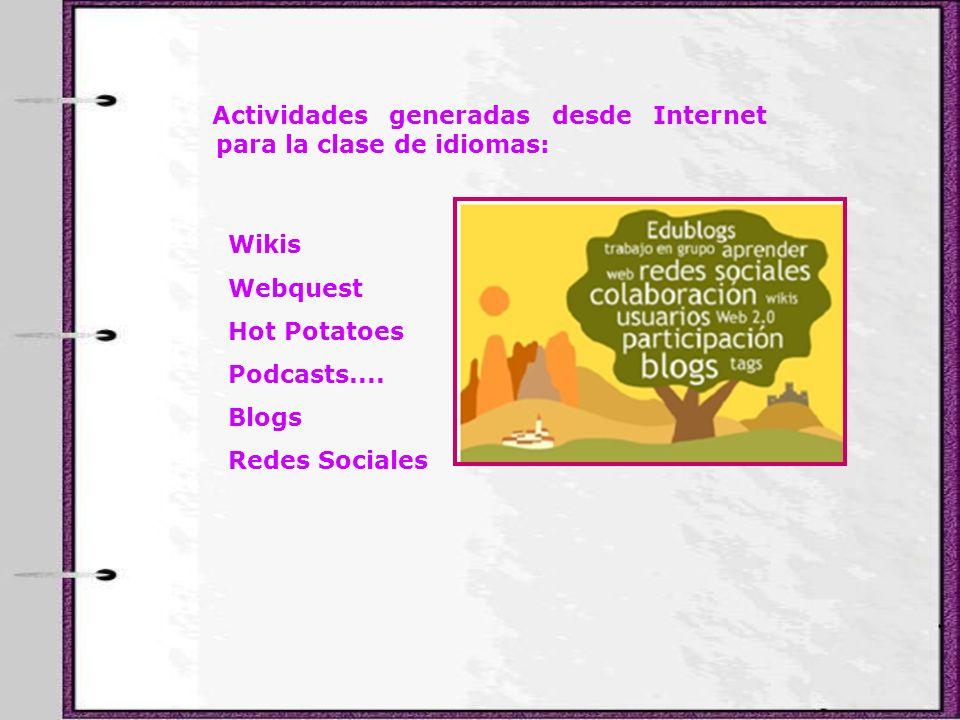 Actividades generadas desde Internet para la clase de idiomas: