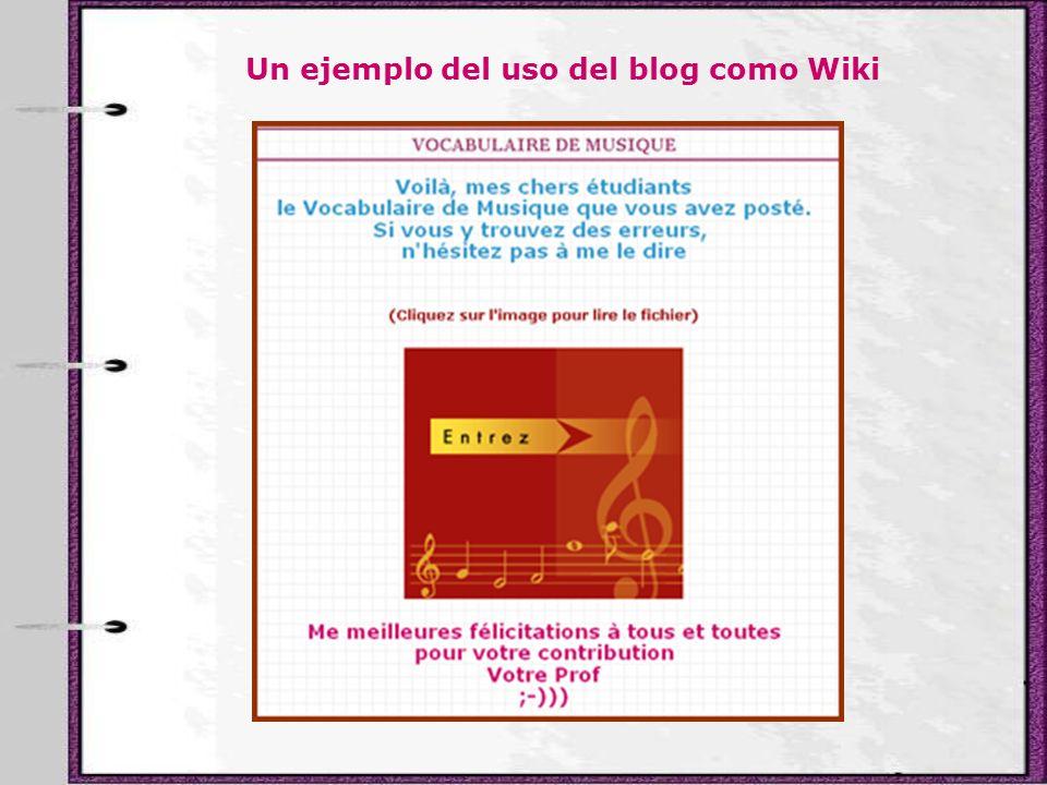 Un ejemplo del uso del blog como Wiki